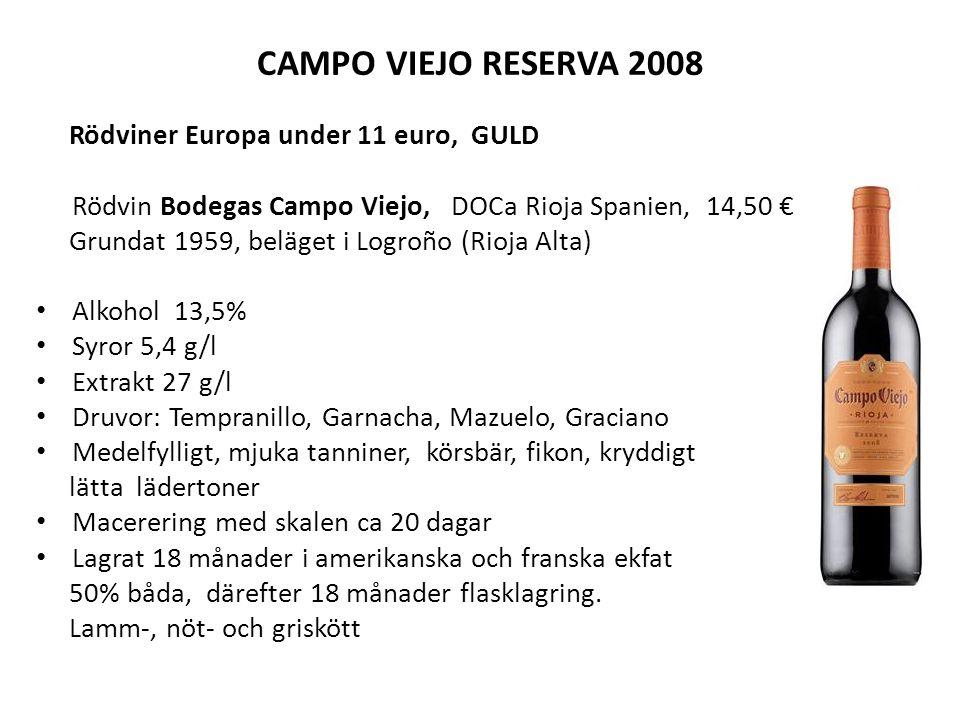 CAMPO VIEJO RESERVA 2008 Rödviner Europa under 11 euro, GULD