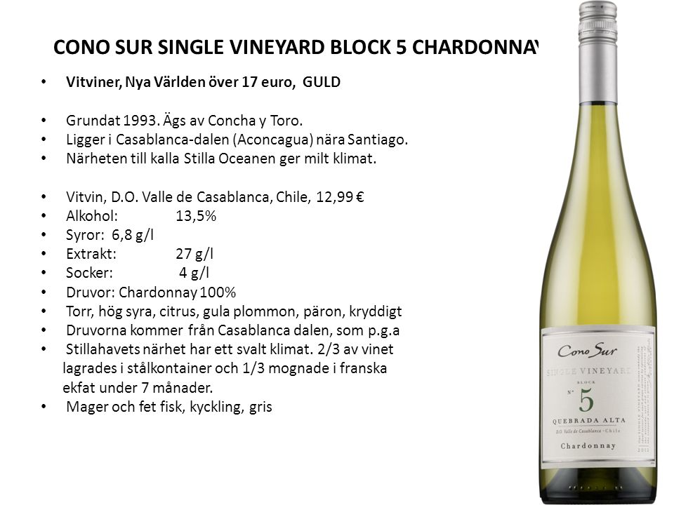 CONO SUR SINGLE VINEYARD BLOCK 5 CHARDONNAYAY 2012
