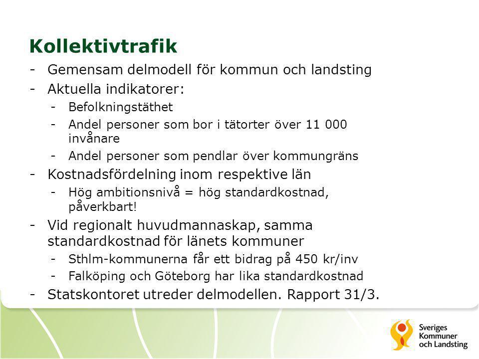 Kollektivtrafik Gemensam delmodell för kommun och landsting