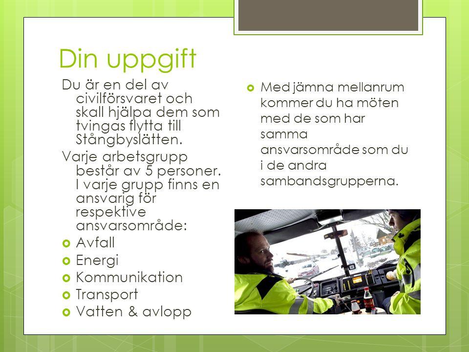 Din uppgift Du är en del av civilförsvaret och skall hjälpa dem som tvingas flytta till Stångbyslätten.