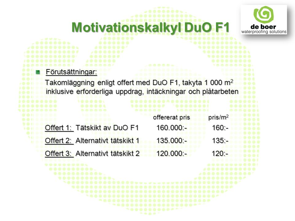 Motivationskalkyl DuO F1