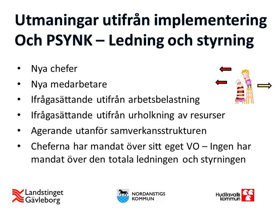 Utmaningar utifrån implementering Och PSYNK – Ledning och styrning