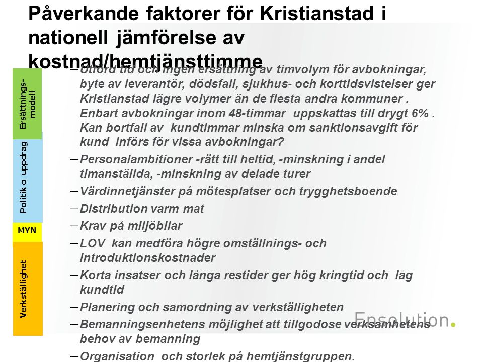 Påverkande faktorer för Kristianstad i nationell jämförelse av kostnad/hemtjänsttimme