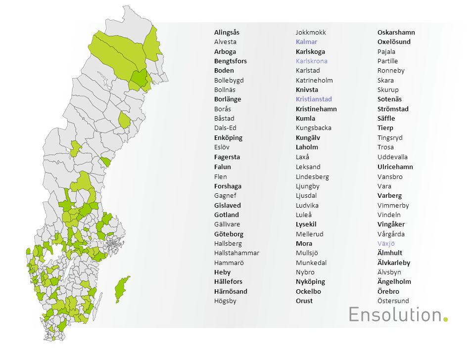 Alingsås Jokkmokk. Oskarshamn. Alvesta. Kalmar. Oxelösund. Arboga. Karlskoga. Pajala. Bengtsfors.