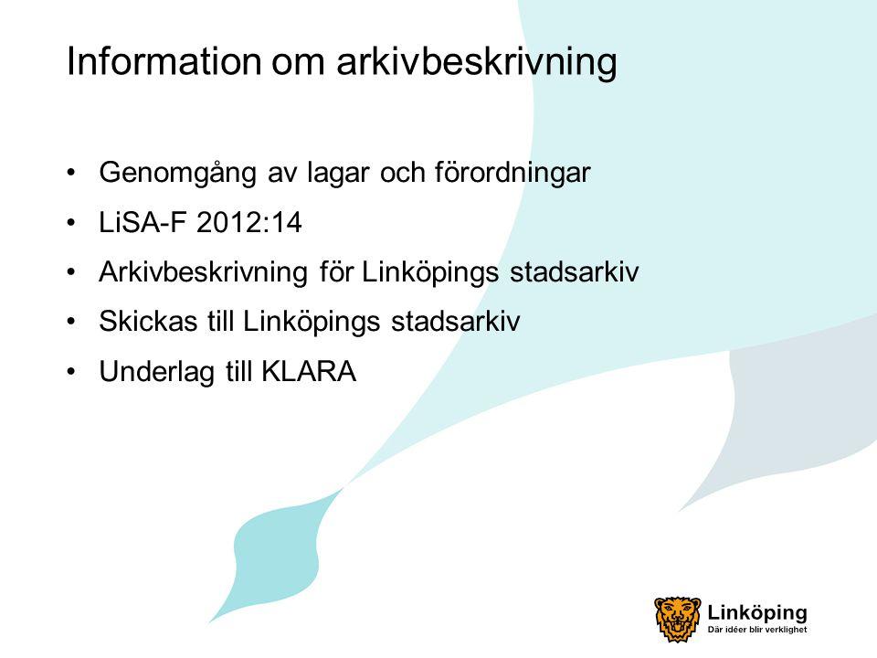 Information om arkivbeskrivning