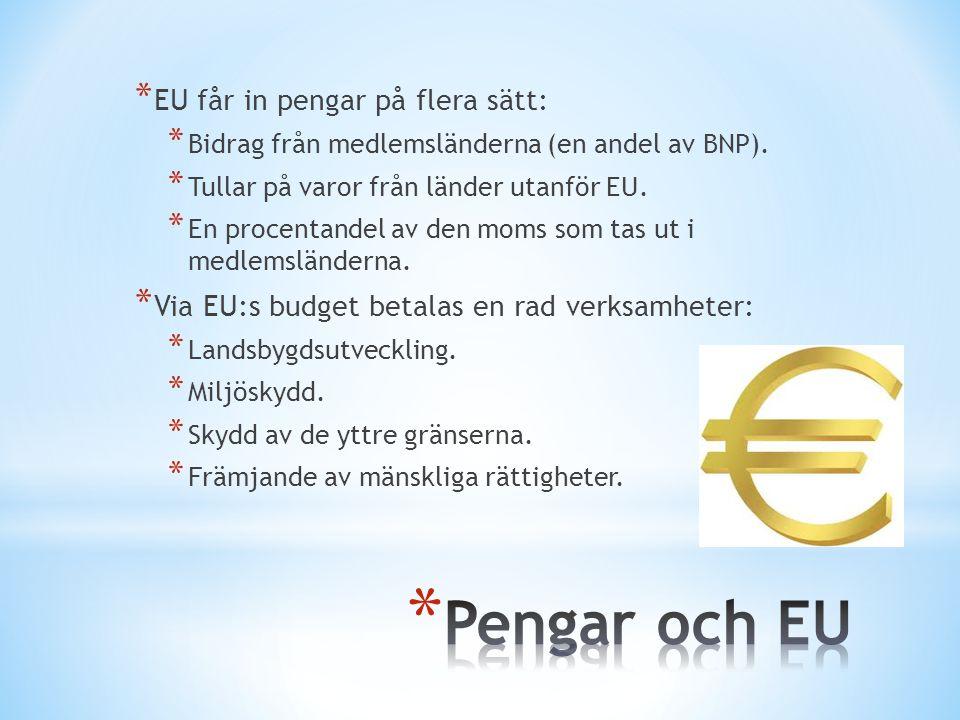 Pengar och EU EU får in pengar på flera sätt: