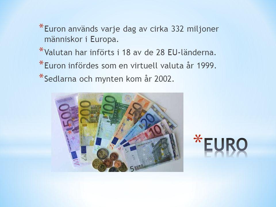 EURO Euron används varje dag av cirka 332 miljoner människor i Europa.