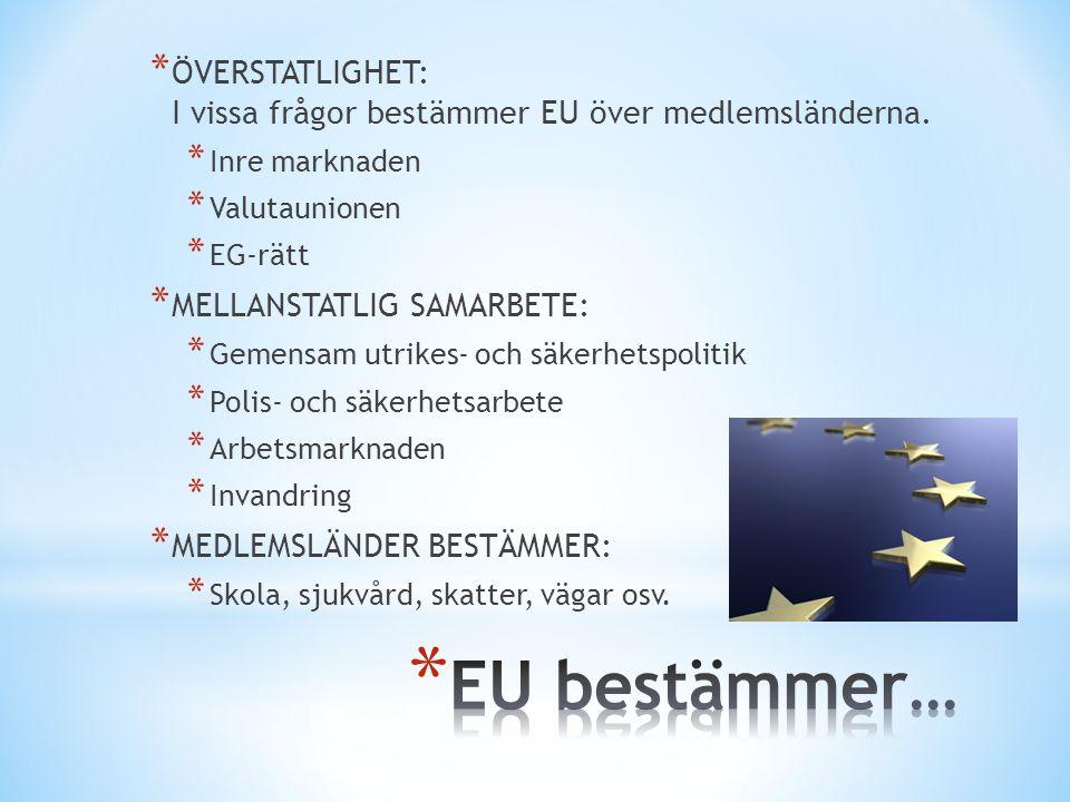 ÖVERSTATLIGHET: I vissa frågor bestämmer EU över medlemsländerna.