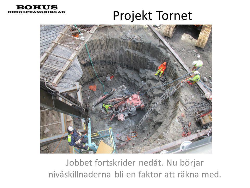 Projekt Tornet Jobbet fortskrider nedåt. Nu börjar nivåskillnaderna bli en faktor att räkna med.