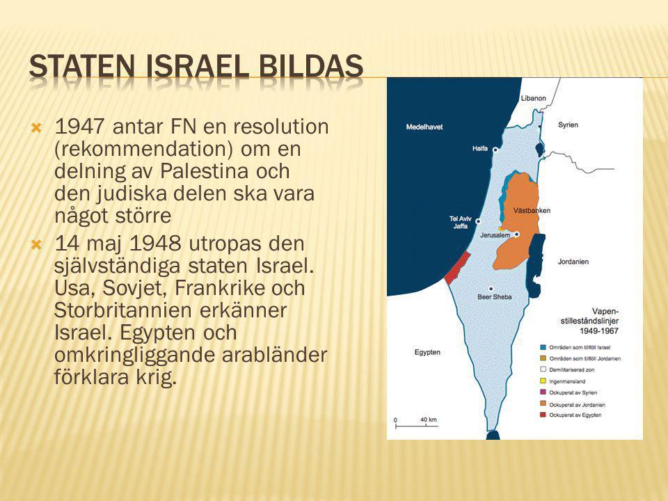 Staten israel bildas 1947 antar FN en resolution (rekommendation) om en delning av Palestina och den judiska delen ska vara något större.