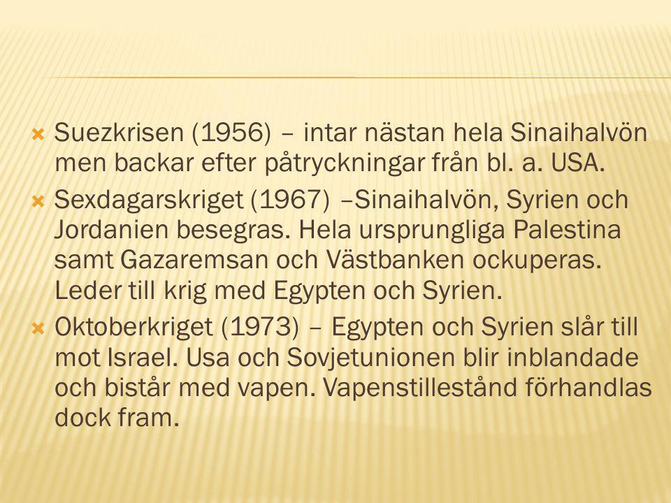 Suezkrisen (1956) – intar nästan hela Sinaihalvön men backar efter påtryckningar från bl. a. USA.
