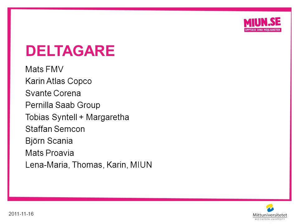 deltagare Mats FMV Karin Atlas Copco Svante Corena Pernilla Saab Group