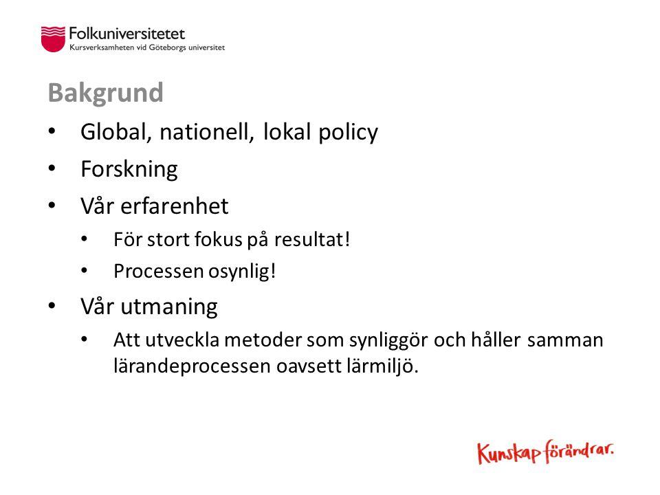 Bakgrund Global, nationell, lokal policy Forskning Vår erfarenhet