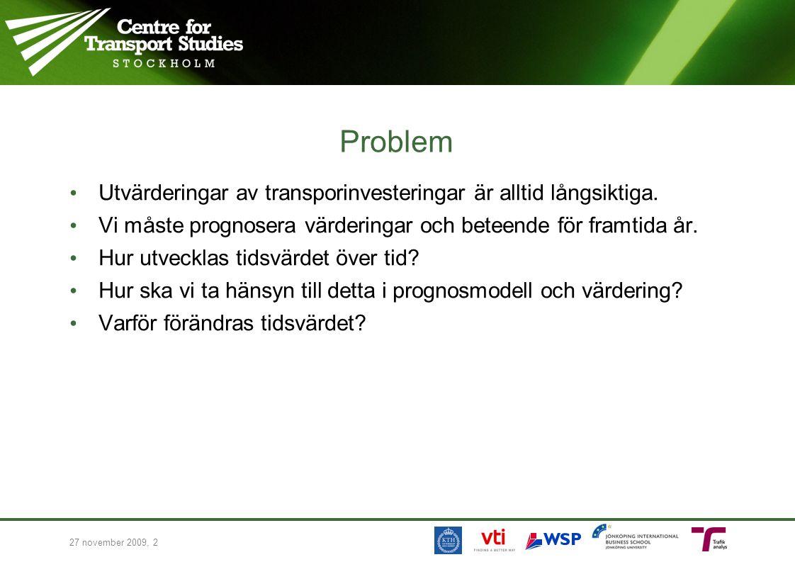 Problem Utvärderingar av transporinvesteringar är alltid långsiktiga.