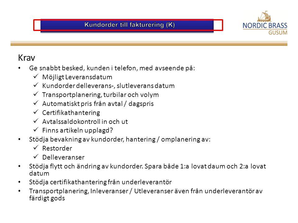 Kundorder till fakturering (K)