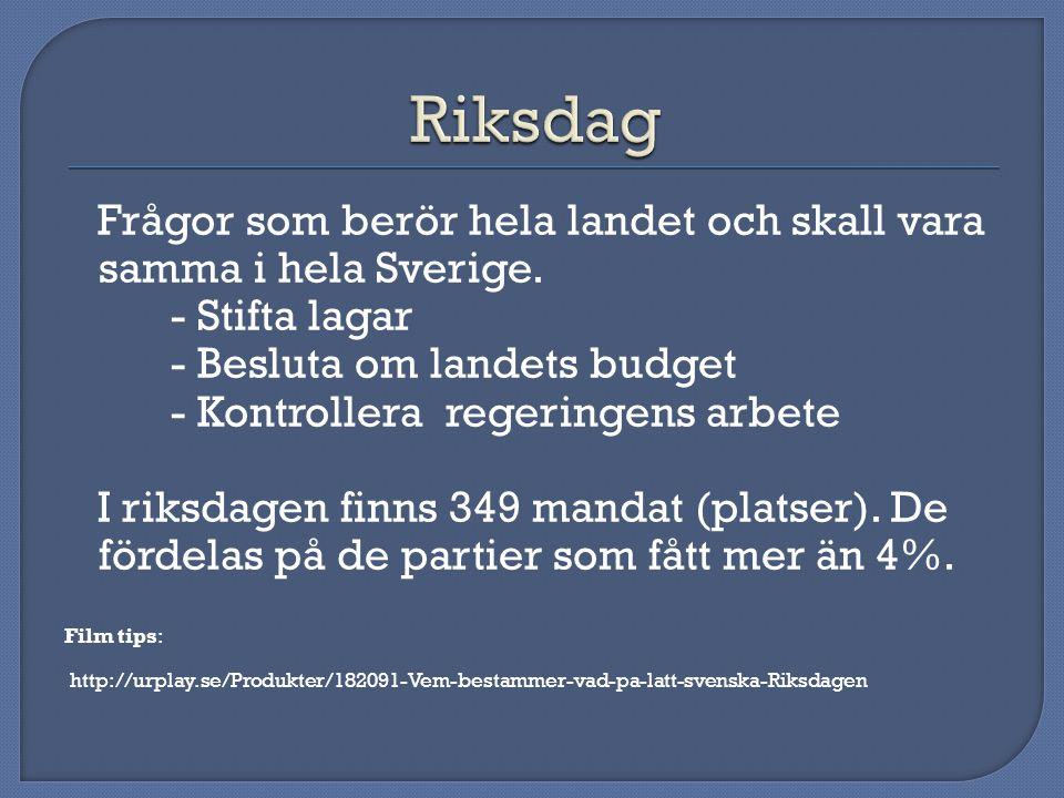 Riksdag Frågor som berör hela landet och skall vara samma i hela Sverige. - Stifta lagar. - Besluta om landets budget.
