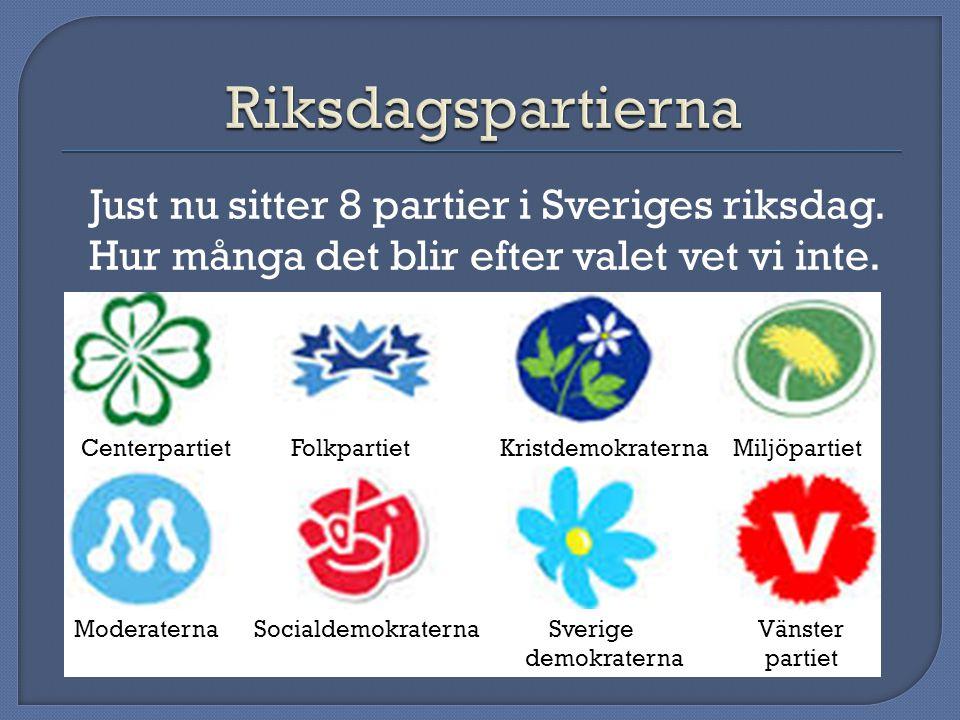 Riksdagspartierna Just nu sitter 8 partier i Sveriges riksdag. Hur många det blir efter valet vet vi inte.