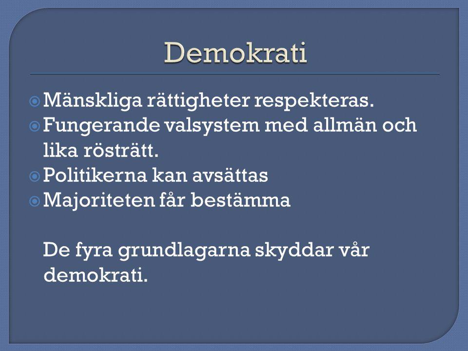 Demokrati Mänskliga rättigheter respekteras.