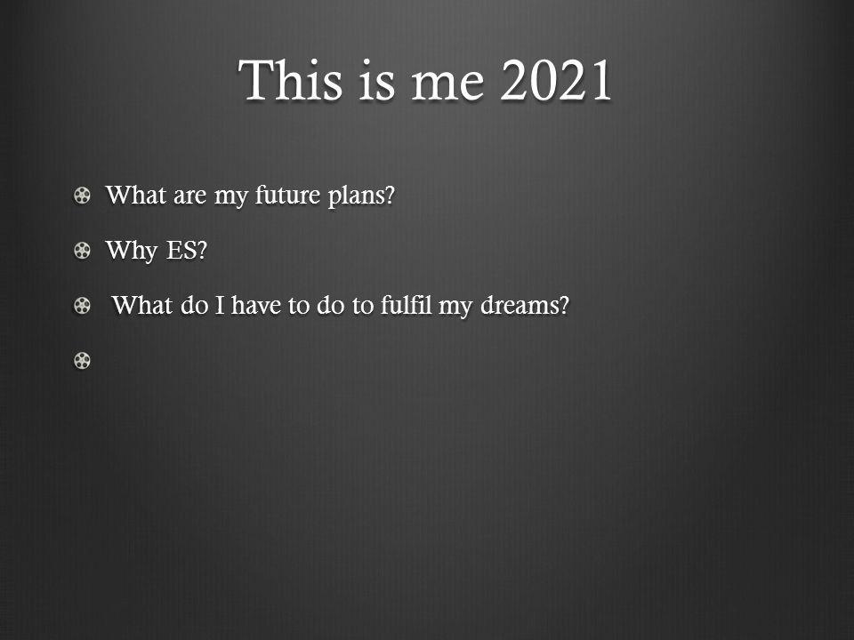 This is me 2021 What are my future plans Why ES