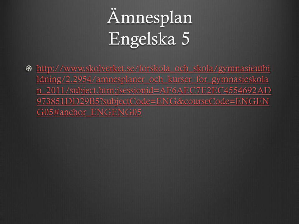 Ämnesplan Engelska 5