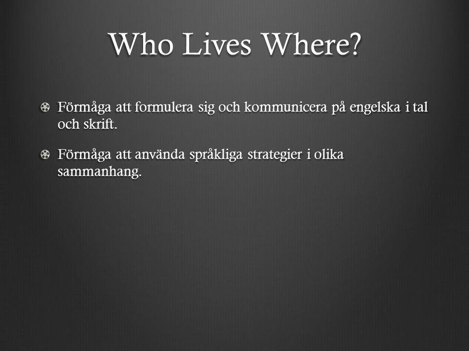 Who Lives Where Förmåga att formulera sig och kommunicera på engelska i tal och skrift.
