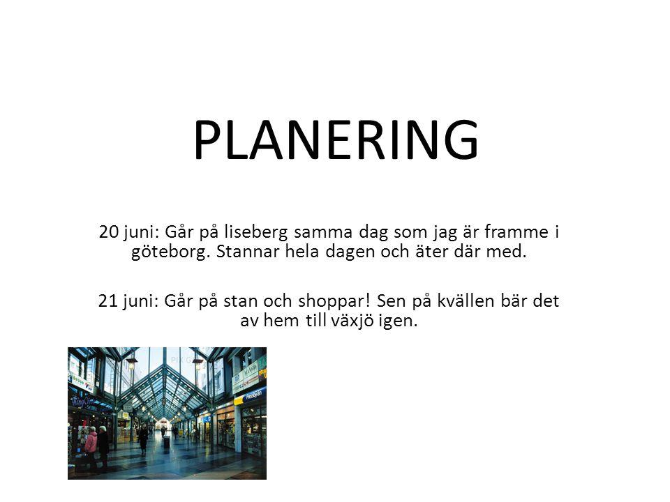 PLANERING 20 juni: Går på liseberg samma dag som jag är framme i göteborg. Stannar hela dagen och äter där med.
