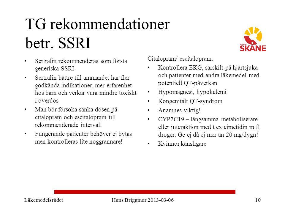 TG rekommendationer betr. SSRI