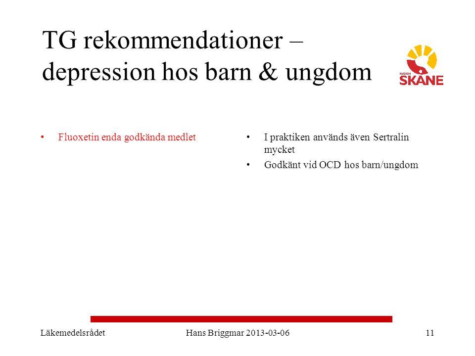 TG rekommendationer – depression hos barn & ungdom