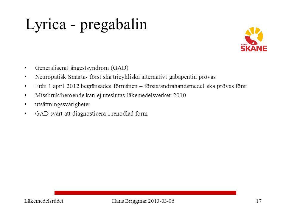 Lyrica - pregabalin Generaliserat ångestsyndrom (GAD)