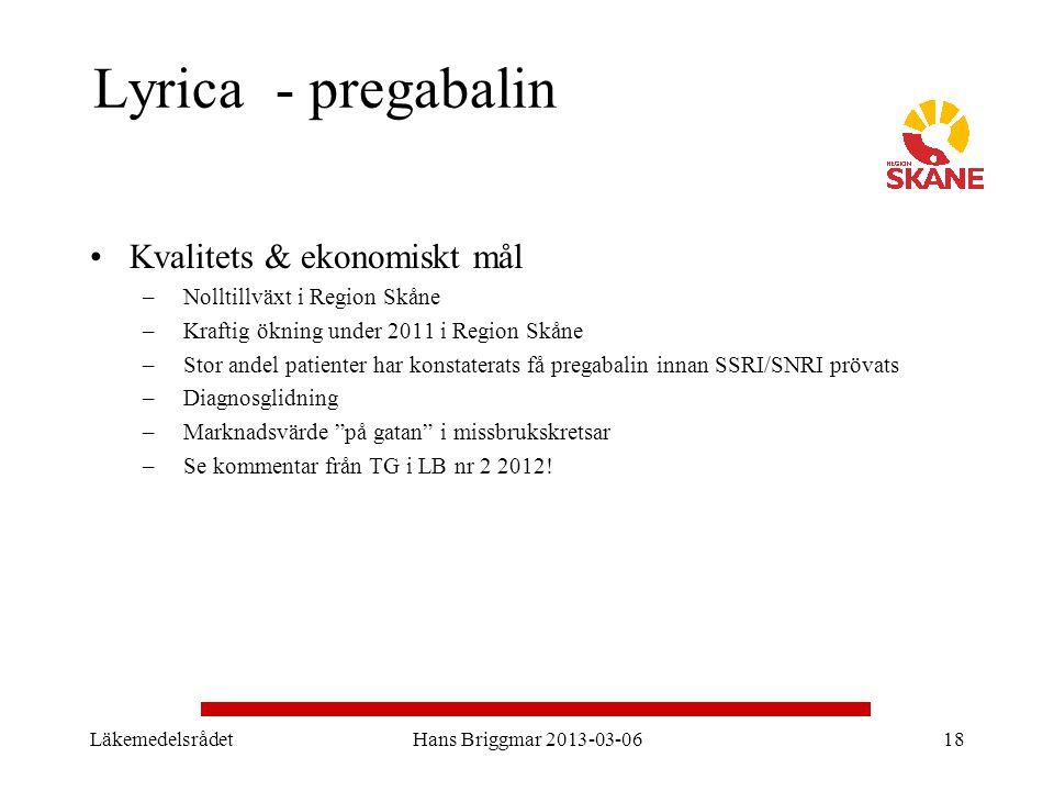 Lyrica - pregabalin Kvalitets & ekonomiskt mål