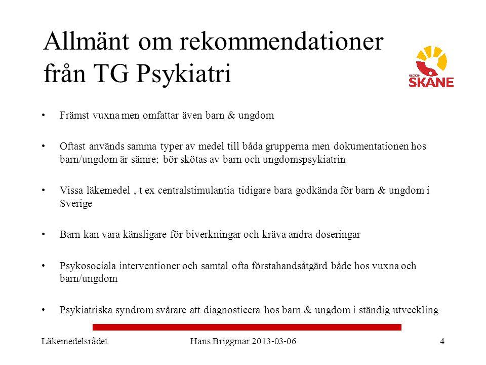 Allmänt om rekommendationer från TG Psykiatri