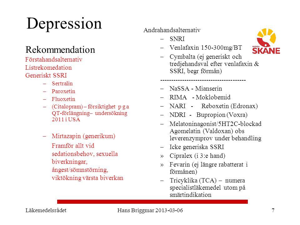 Depression Rekommendation Förstahandsalternativ Andrahandsalternativ