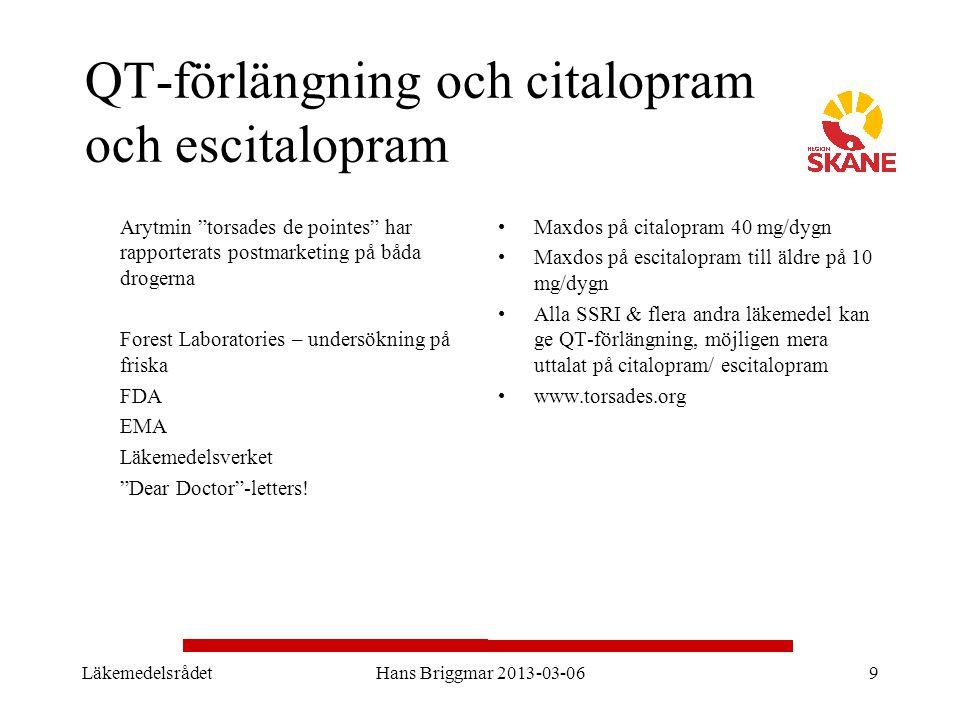 QT-förlängning och citalopram och escitalopram
