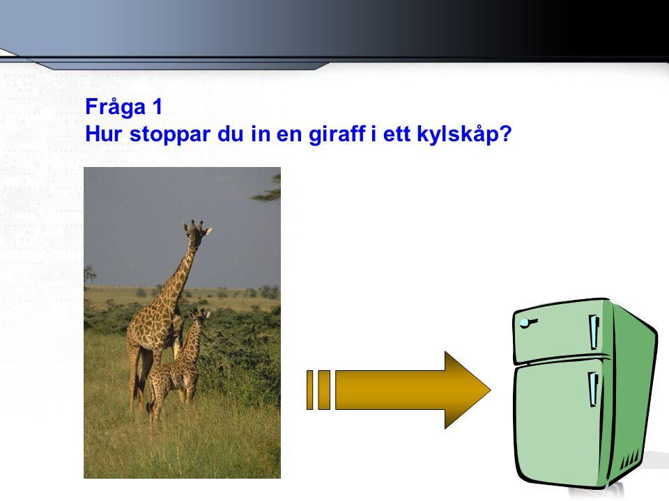 Fråga 1 Hur stoppar du in en giraff i ett kylskåp