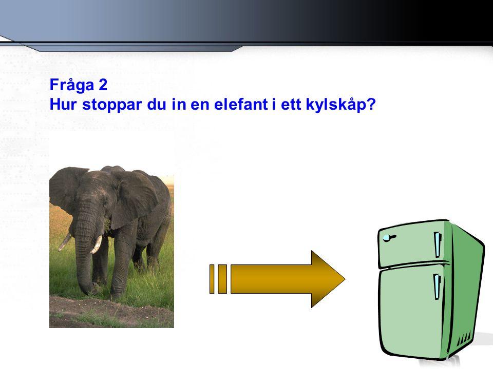 Fråga 2 Hur stoppar du in en elefant i ett kylskåp