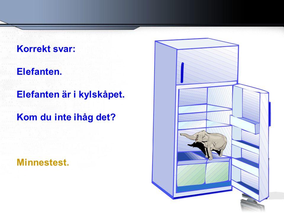 Korrekt svar: Elefanten. Elefanten är i kylskåpet. Kom du inte ihåg det Minnestest.