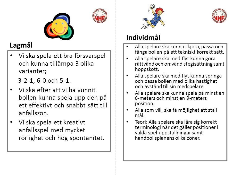 Individmål Lagmål. Alla spelare ska kunna skjuta, passa och fånga bollen på ett tekniskt korrekt sätt.