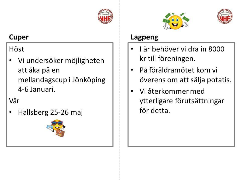 Cuper Lagpeng. Höst. Vi undersöker möjligheten att åka på en mellandagscup i Jönköping 4-6 Januari.