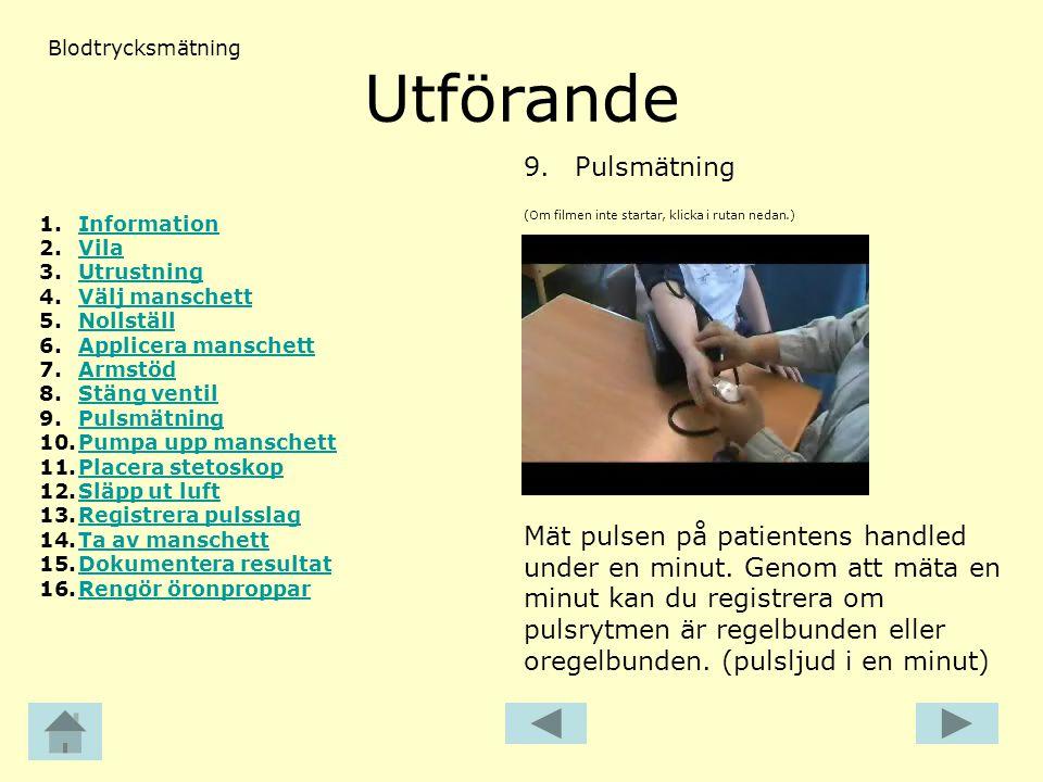 Utförande 9. Pulsmätning