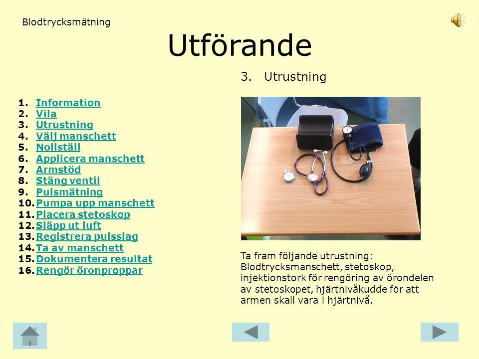 Utförande 3. Utrustning Blodtrycksmätning Information Vila Utrustning