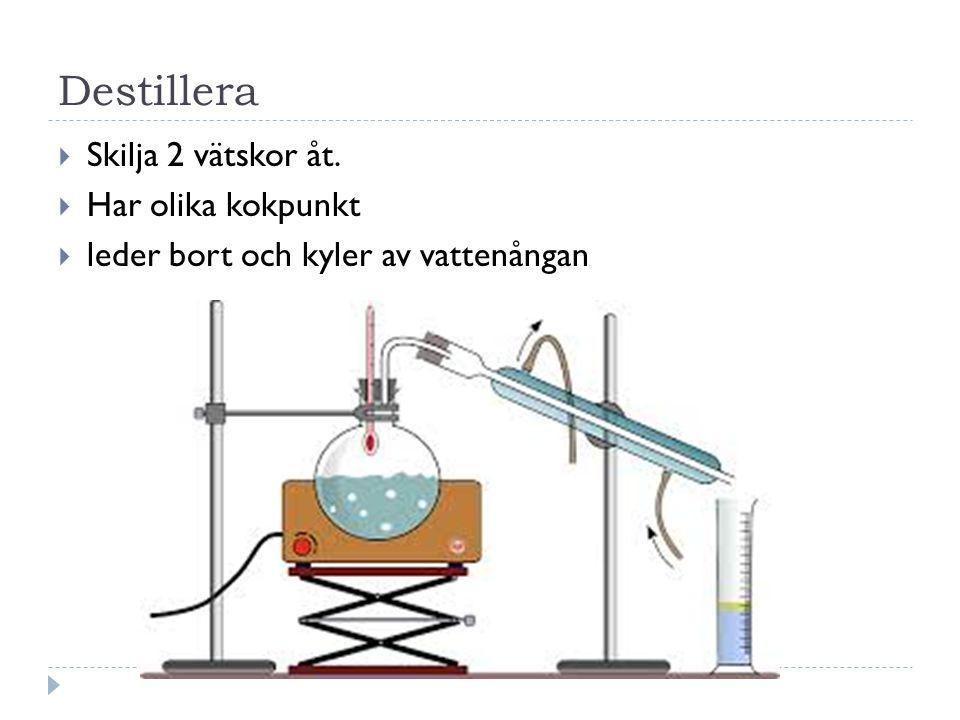 Destillera Skilja 2 vätskor åt. Har olika kokpunkt