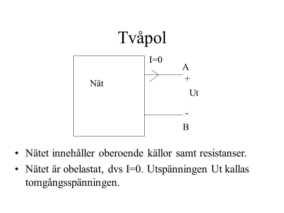 Tvåpol Nätet innehåller oberoende källor samt resistanser.