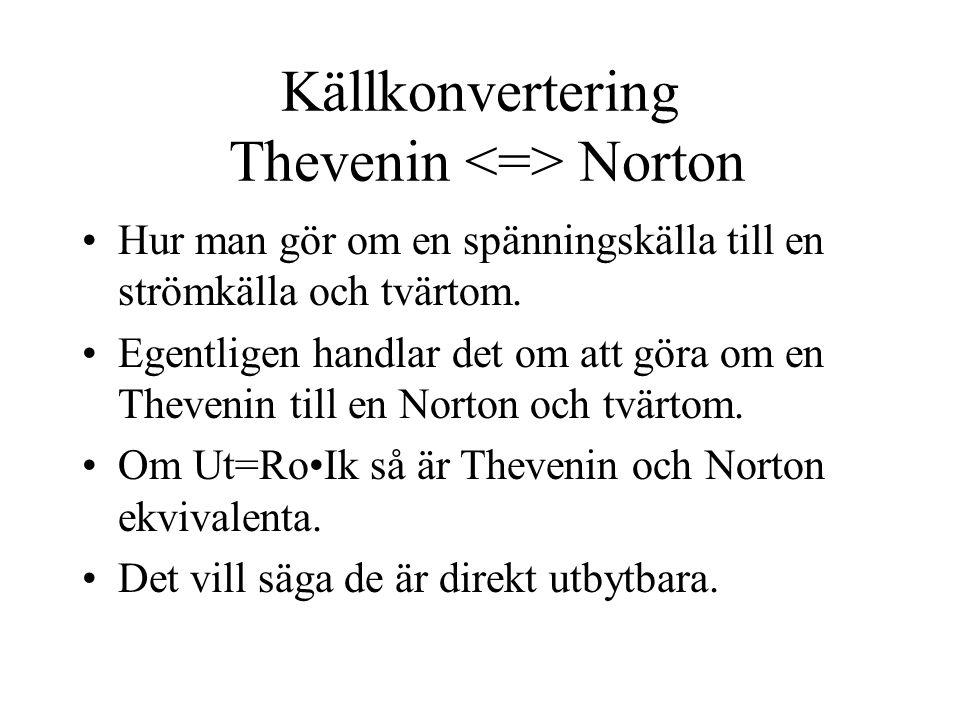 Källkonvertering Thevenin <=> Norton