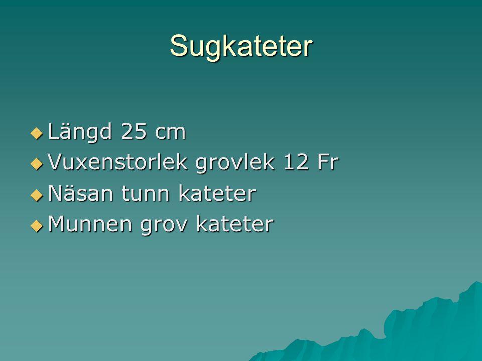Sugkateter Längd 25 cm Vuxenstorlek grovlek 12 Fr Näsan tunn kateter