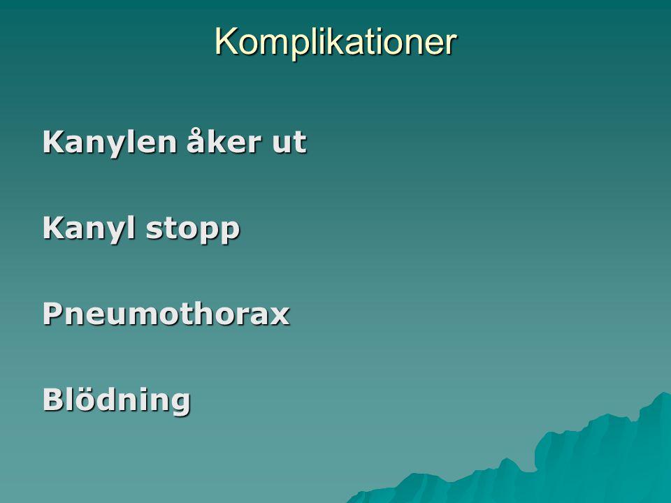 Komplikationer Kanylen åker ut Kanyl stopp Pneumothorax Blödning