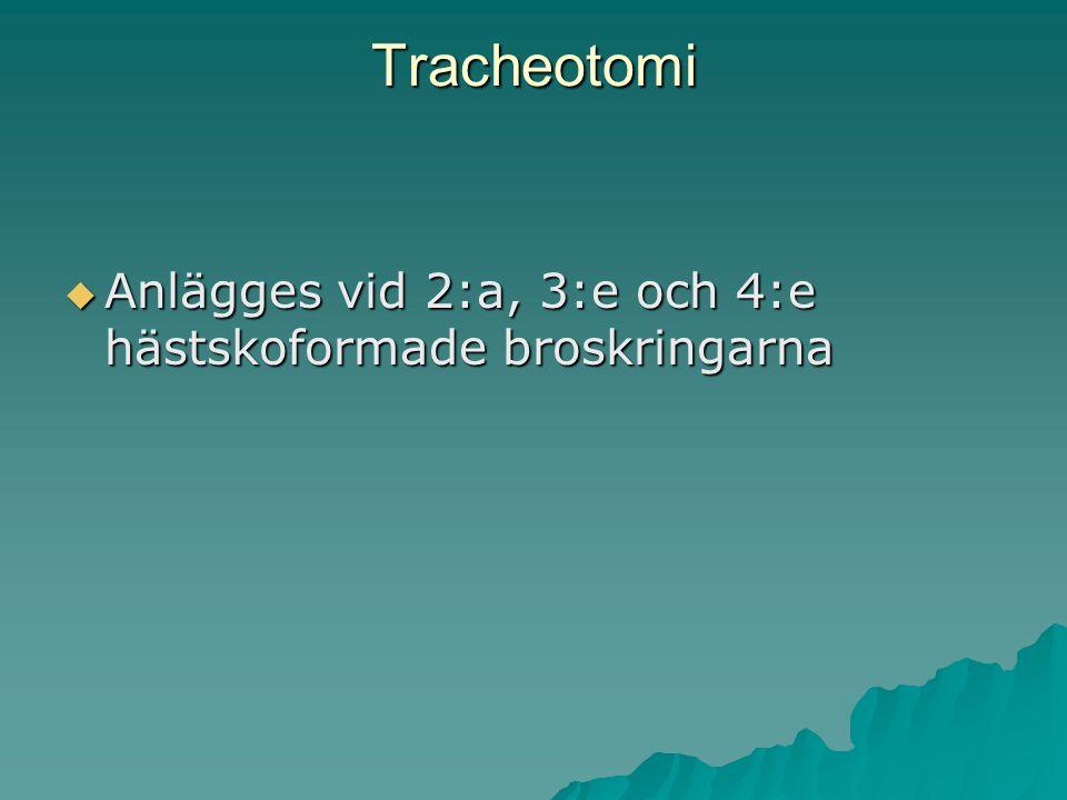 Tracheotomi Anlägges vid 2:a, 3:e och 4:e hästskoformade broskringarna