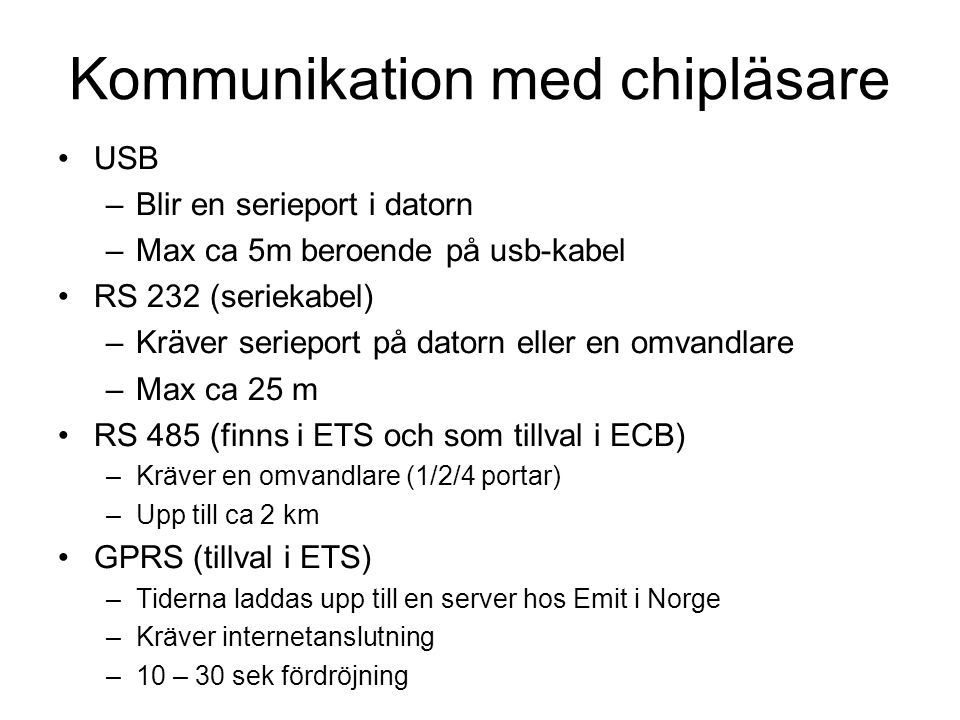 Kommunikation med chipläsare