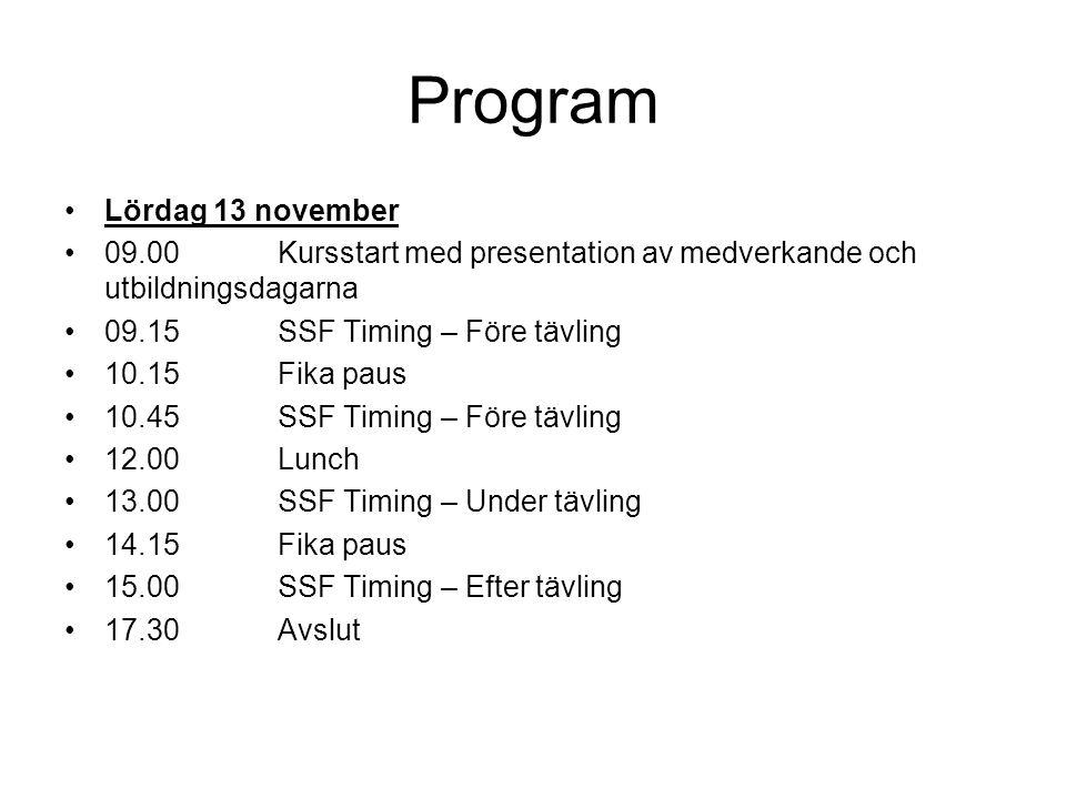 Program Lördag 13 november