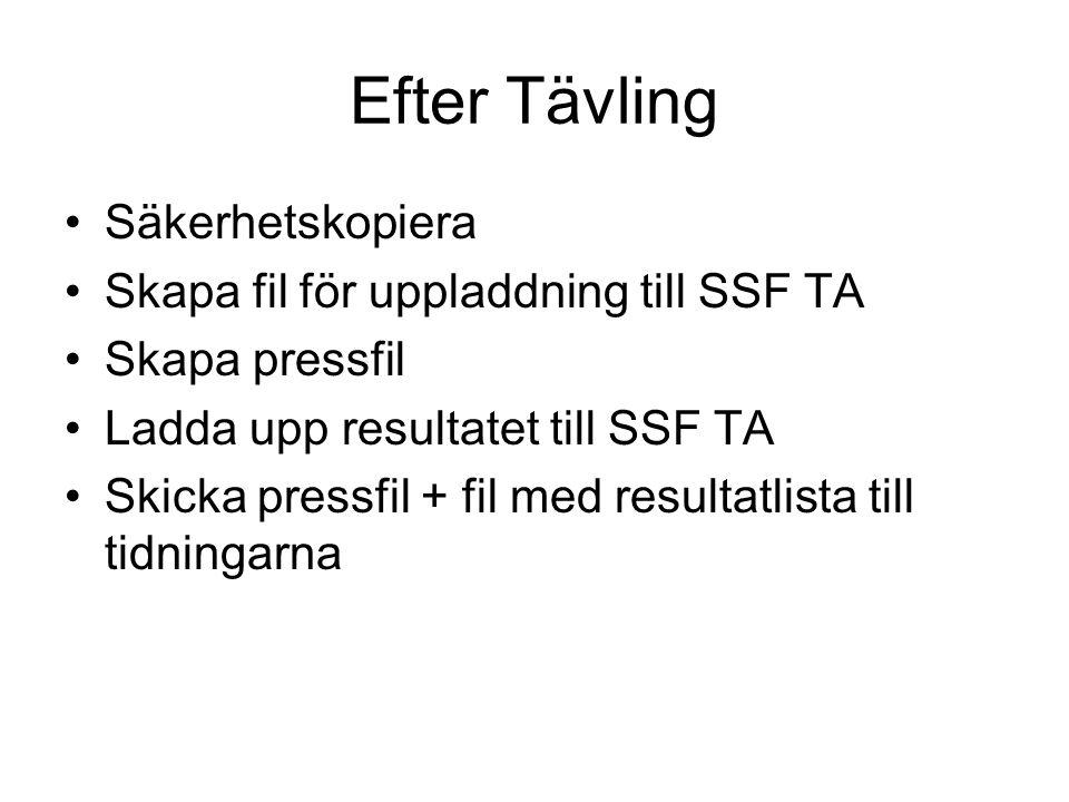 Efter Tävling Säkerhetskopiera Skapa fil för uppladdning till SSF TA