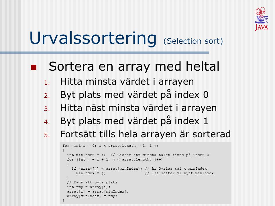 Urvalssortering (Selection sort)